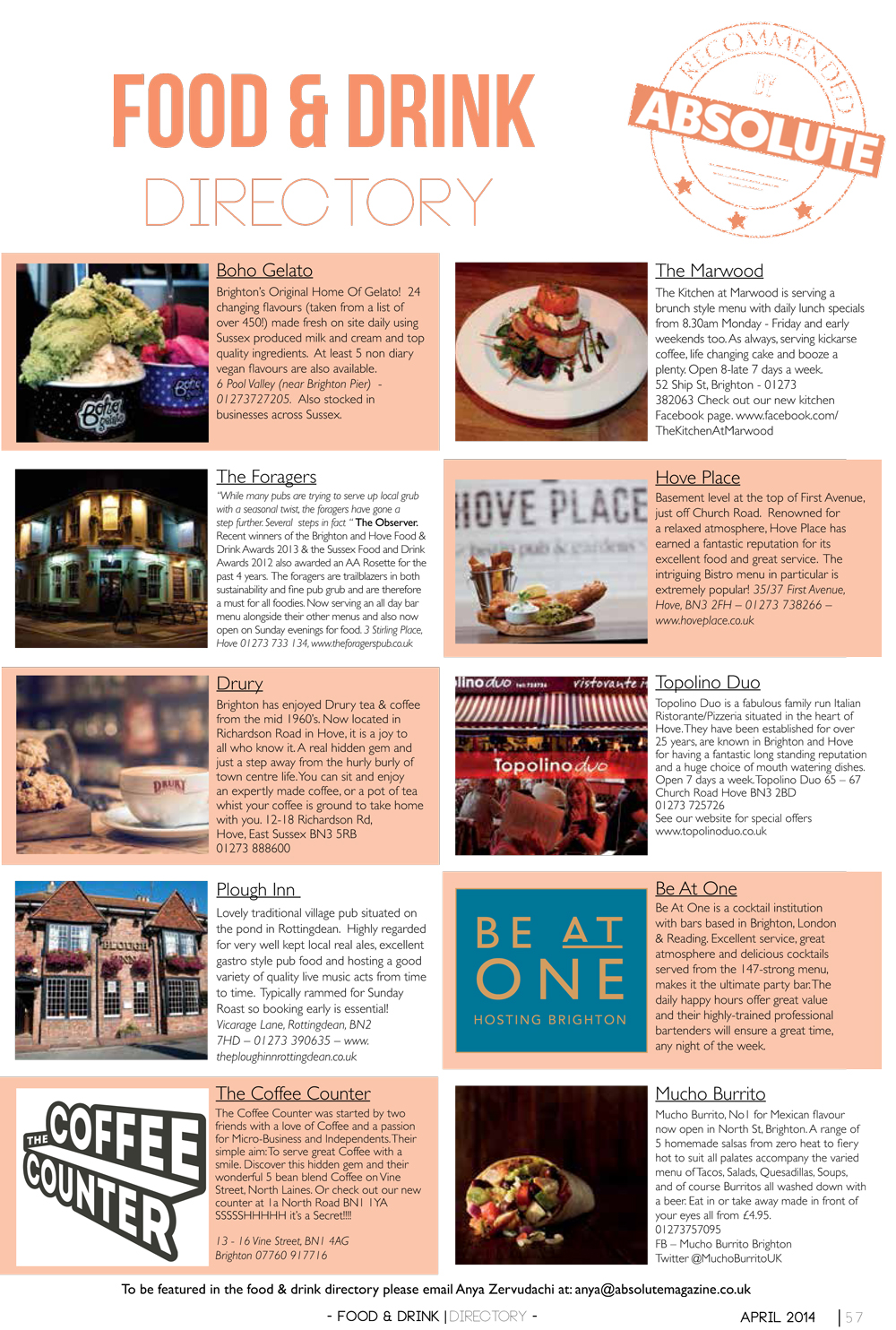 Food Amp Drink Directory April Absolute Magazine